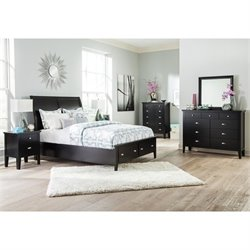 Ashley Braflin 6 Piece Wood Sleigh Bedroom Set in Black
