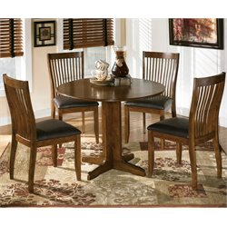 Ashley Stuman Wood Round Dining Set in Brown