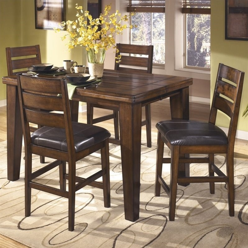 Ashley Larchmont 5 Piece Wood Counter Height Dining Set In