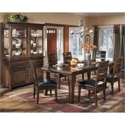 Ashley Larchmont Wood Dining Set in Brown