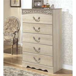 Ashley Catalina 5 Drawer Wood Chest in Antique White