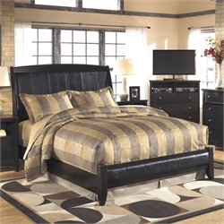 Harmony Upholstered Sleigh Bed in Dark Brown
