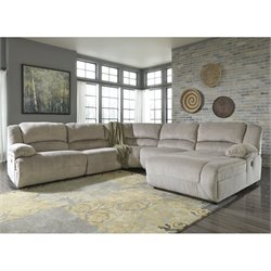 Toletta 5 Piece Chaise Reclining Sectional in Granite