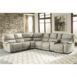 Bohannon 4 Piece Fabric Power Console Sectional in Putty