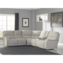 Bohannon 3 Piece Fabric Power Console Sectional in Putty