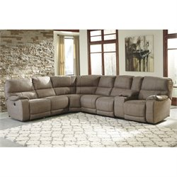 Bohannon 4 Piece Fabric Power Console Sectional in Taupe
