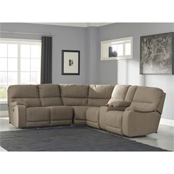 Bohannon 3 Piece Fabric Power Console Sectional in Taupe