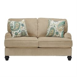 Ashley Lochian Chenille Loveseat in Bisque