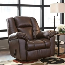 Ashley Knoxton Faux Leather Rocker Recliner in Chocolate