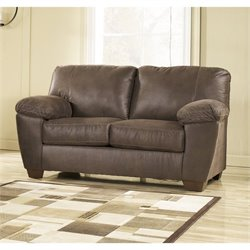 Ashley Amazon Fabric Loveseat in Walnut
