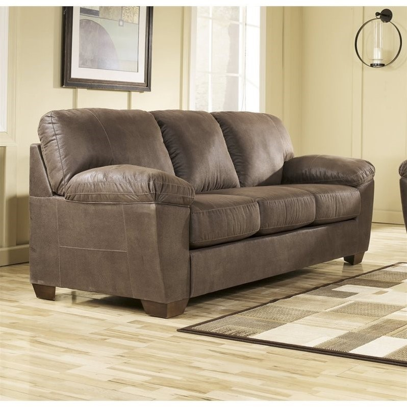Ashley Amazon Microfiber Sofa In Walnut 6750538