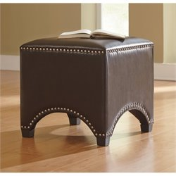Ashley Flemish Faux Leather Accent Ottoman in Chocolate