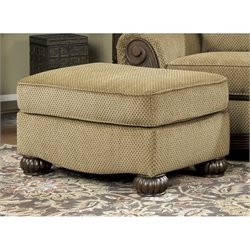 Ashley Lynnwood Fabric Ottoman in Amber