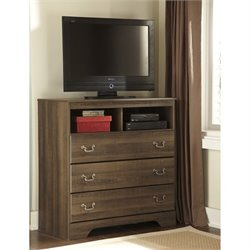 Ashley Allymore 3 Drawer Wood Media Chest in Brown