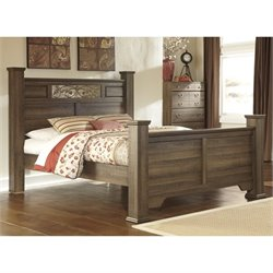 Allymore Wood Poster Panel Bed in Brown