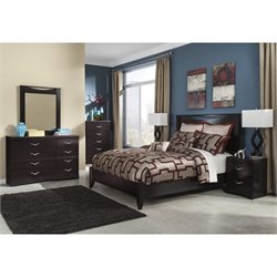 Zanbury 6 Piece Wood Panel Bedroom Set in Merlot