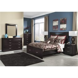Ashley Zanbury 6 Piece Wood Queen Drawer Bedroom Set in Merlot
