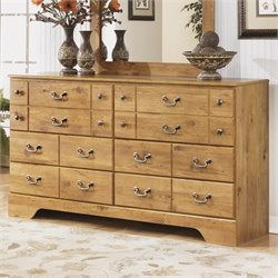 Ashley Bittersweet 6 Drawer Wood Double Dresser in Light Brown
