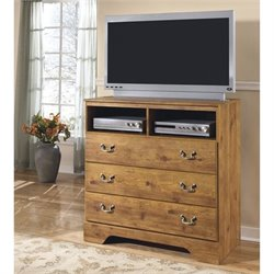 Ashley Bittersweet 3 Drawer Wood Media Chest in Light Brown