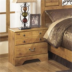 Ashley Bittersweet 2 Drawer Wood Nightstand in Light Brown