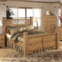 Bittersweet Wood Poster Panel Bed in Light Brown