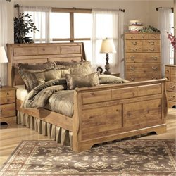 Bittersweet Wood Sleigh Bed in Light Brown