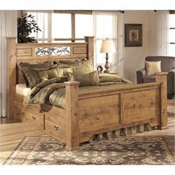 Bittersweet Wood Drawer Panel Bed in Light Brown