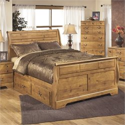 Bittersweet Wood Drawer Sleigh Bed in Light Brown