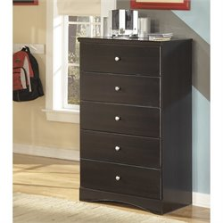 Ashley Embrace 5 Drawer Wood Chest in Merlot