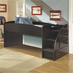 Embrace 3 Drawer Wood Twin Loft Bed in Merlot