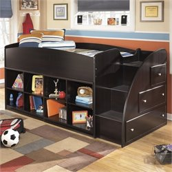 Embrace 8 Cubby 3 Drawer Wood Twin Loft Bed in Merlot