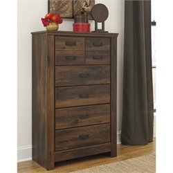 Ashley Quinden 5 Drawer Wood Chest in Dark Brown