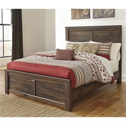Quinden Wood Panel Bed in Dark Brown