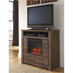 Quinden 4 Drawer Wood Media Chest with Fireplace Insert