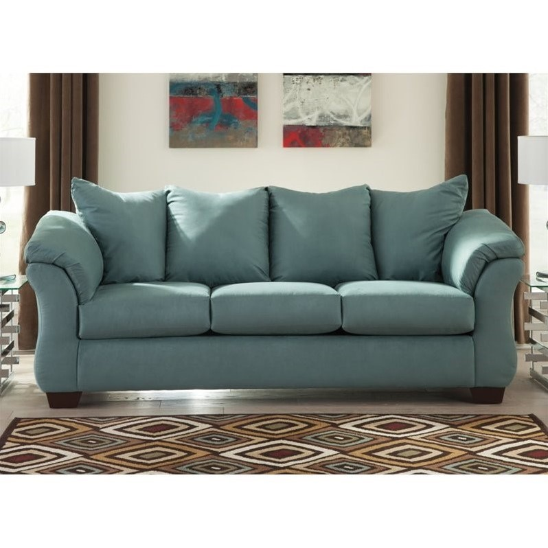 Ashley Darcy Fabric Full Size Sleeper Sofa In Sky 7500636