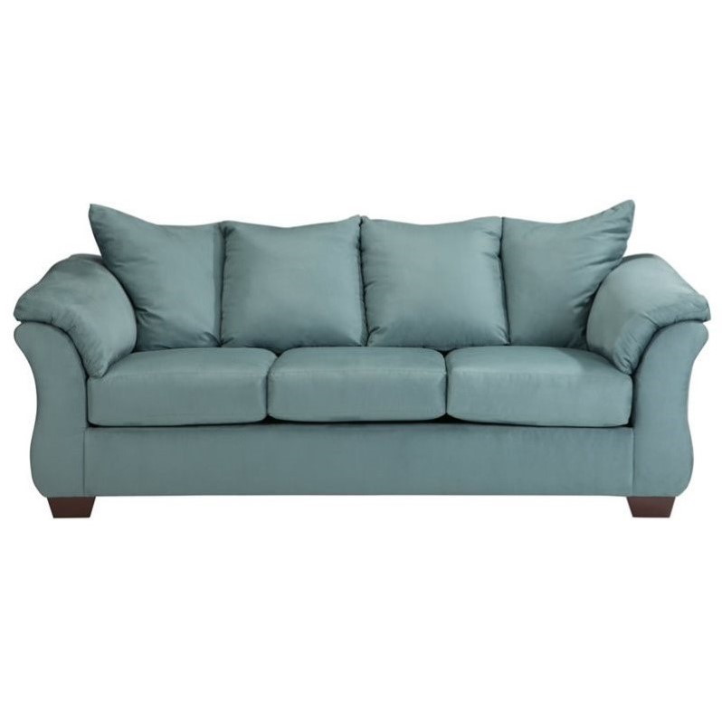 Ashley darcy fabric full size sleeper sofa in sky 7500636 for Ashley sleeper sofa
