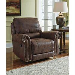 Ashley Breville Faux Leather Rocker Recliner in Espresso
