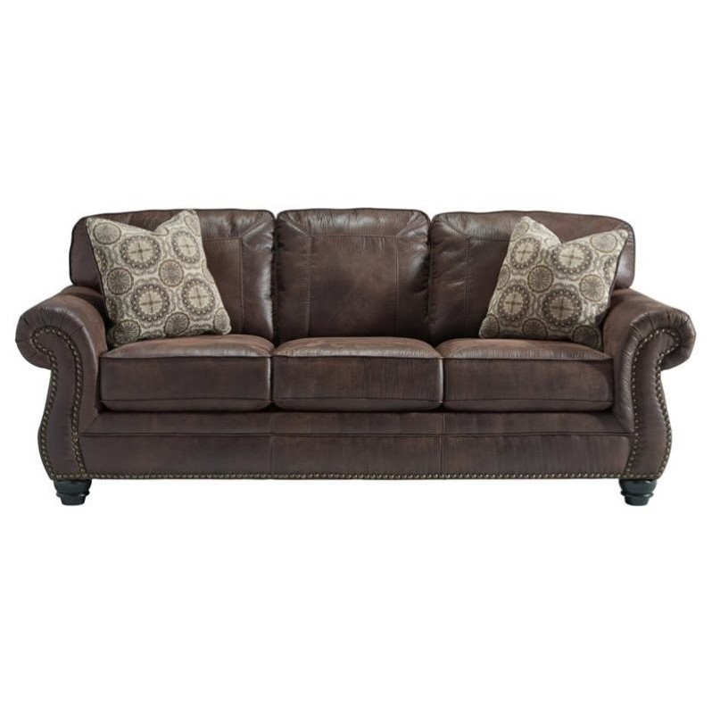 Ashley Breville Faux Leather Queen Size Sleeper Sofa In