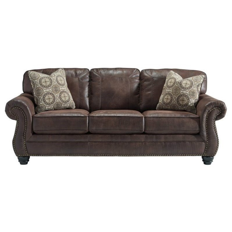 Ashley Breville Faux Leather Queen Size Sleeper Sofa In Espresso 8000339