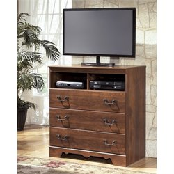 Ashley Timberline 3 Drawer Wood Media Chest in Warm Brown