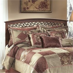 Ashley Timberline Wood Panel Headboard in Warm Brown
