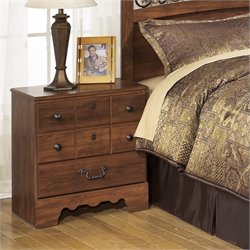 Ashley Timberline 2 Drawer Wood Nightstand in Warm Brown