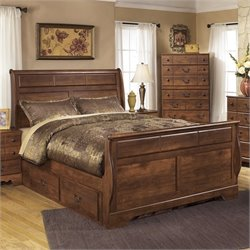 Timberline Wood Queen Drawer Sleigh Bed in Warm Brown