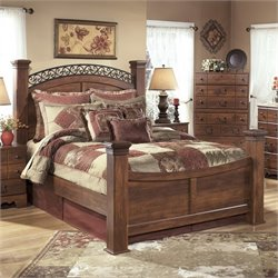 Timberline Wood Poster Panel Bed in Warm Brown