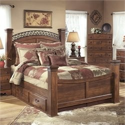 Timberline Wood Drawer Panel Bed in Warm Brown