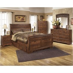 Timberline 6 Piece Wood Queen Drawer Sleigh Bedroom Set
