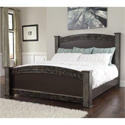 Vachel Wood Poster Panel Bed in Dark Brown