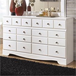 Ashley Weeki 6 Drawer Wood Double Dresser in White