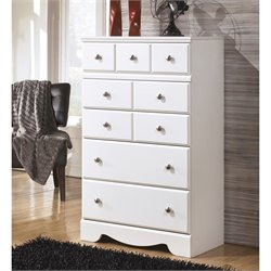 Ashley Weeki 5 Drawer Wood Chest in White