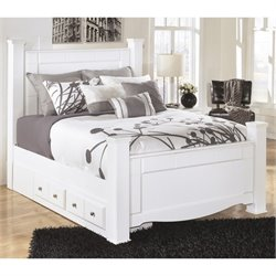 Weeki Wood Drawer Panel Bed in White